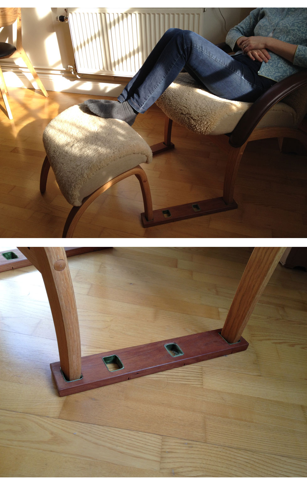 Prevent the footrest from sliding away from the chair : lifehacks